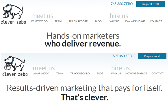 Clever Zebo homepage A/B test